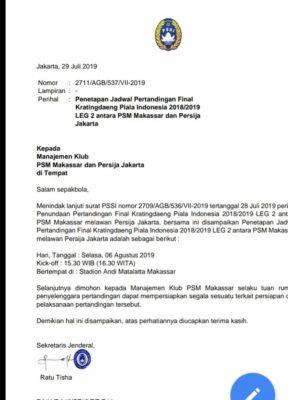 Sekjen PSSI Putuskan Leg Kedua yang Tertunda Akan Digelar di Makassar Pekan Depan