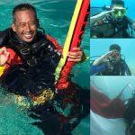 Rayakan HUT Kemerdekaan Ke-76 Group Divers Indonesia Kibarkan Merah Putih di Bawah Laut Samalona